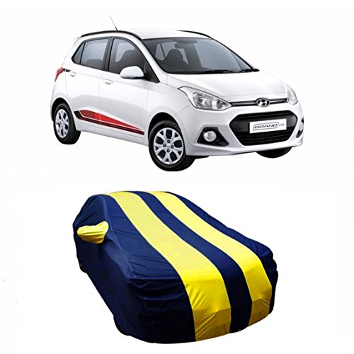 MotRoX Sporty Yellow Stripe Car Body Cover For Hyundai Grand i10 (Water Resistant and Triple Stiched-GN)  available at amazon for Rs.839