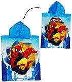 Badeponcho - Ultimate Spider-Man - 50 cm * 115 cm - 4 bis 8 Jahre Poncho - mit Kapuze - Handtuch Strandtuch Baumwolle - Spiderman Spider Man - Jungen - für Ki..