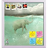 ArtzFolio Funny Elephant Swimmer Printed Bulletin Board Notice Pin Board cum White Framed Painting 12 x 13.1inch