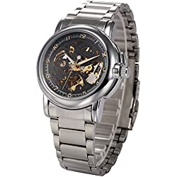 KS Black Skeleton Automatic Mechanical Mens Stainless Steel Wrist Watch + Box KS039