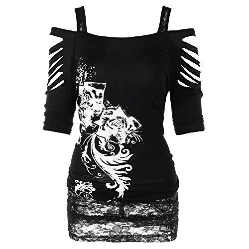UFODB Damen Steampunk Bluse Frauen T-Shirt Printed Off Shoulder Reißen Vintage Langarm Gothic Corsage Sling Sweatershirt Sweater Outwear Oberteile Tops