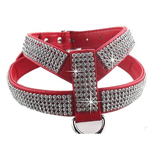 Hundehalsband einstellbar Heimtierbedarf Haustier Halskette Hund ziehen Gurt Traktion schnell Release Strasssteine,Rot,L -