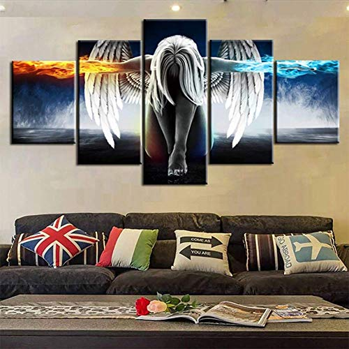 QJXX 5 Panel Abstraktes Ölgemälde Leinwanddrucke Schöne Flügel Mädchen Bild Feuer und Eis Wasser Engel Wandkunst Für Wohnzimmer (Rahmenlos),B