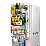Scaffali laterali del frigorifero, Rack da cucina di grande capacità Portabottiglie per stagionatura per Frigo da Cucina, Porta Spezie Antiruggine