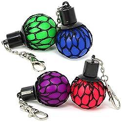 com-four® 4X Squeeze Ball Schlüsselanhänger - Quetschball Anti-Stress-Spielzeug für Kinder und Erwachsene (04 Stück - Anhänger)