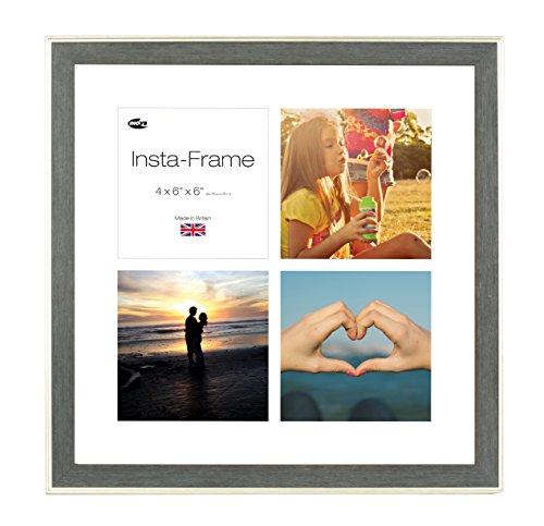 Inov8 16 x 16 Insta Rahmen-Austen-Bilderrahmen für 4 Fotos, quadratisch, Instagram, mit weißem Passepartout und weißen Einsatz, Silber-anthrazit -