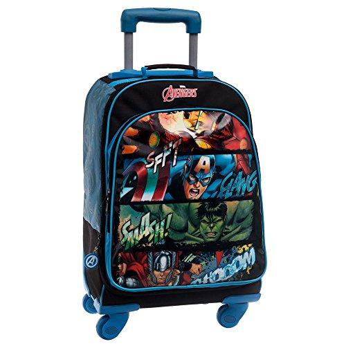 Marvel avengers set per la scuola, zaino grande trolley scuola elementare media 4 ruote 21 x 32 x 46 cm poliestere, nero, 46 cm