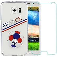 Funda Samsung Galaxy s6,ZXK Funda del Gel TPU silicona para Samsung Galaxy s6 Carcasa Funda Case Transparente-Logotipo Selección del fútbol de Francia