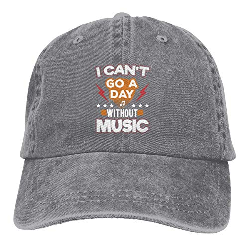 Presock Cappellini da Baseball I Can't Go A Day Without Music Cowboy Caps Unisex Adjustable Dad Baseball Hat Gray