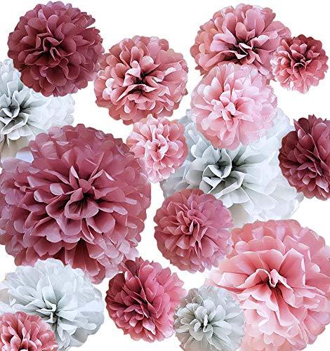 Shager 20 PCS Seidenpapier Blumen Pompoms - Seidenpapier Pom Poms Dekorpapier Kit - Baby-Dusche - Brautdusche - Hochzeit - Bachelorette - Geburtstagsfeier - 14