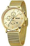 Findtime Herrenuhr Chronograph Analog Quarzwerk mit Edelstahl Armband Gold Business