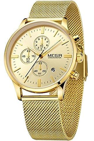 Megir Hommes belle Or doré Casual Luxe Sport chronographe acier inoxydable Quartz Analogique Marque de Montre
