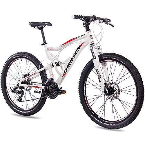 CHRISSON 26 Zoll Mountainbike Fully - Emoter Weiss - Vollfederung Mountain Bike mit 21 Gang Shimano Tourney Kettenschaltung - MTB Fahrrad für Herren und Damen mit Zoom Federgabel -