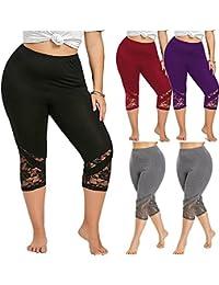 39b0a10340ec0 Cinnamou Pantalones Cortos de Yoga para Mujer Encaje Fitness Leggins Skinny Push  up Pantalón Deportivos Elasticos