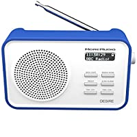 MoreAudio Desire DAB Digital FM Radio Alarm Clock - Rechargable Battery / Mains Powered - Blue