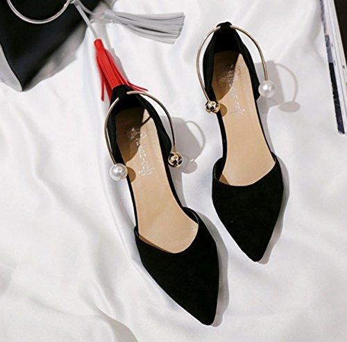 Damen Pumps Spitz Zehen Nubukleder Slip On Wein glase sohle Büro Elegant Modische Schuhe Schwarz