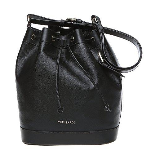 Sac bandoulire femme Trussardi, sac bandoulire avec sangle d'épaule réglable en Saffiano, Cuir de veau authentique 28x32x16 Cm Mod. 76B102M Noir