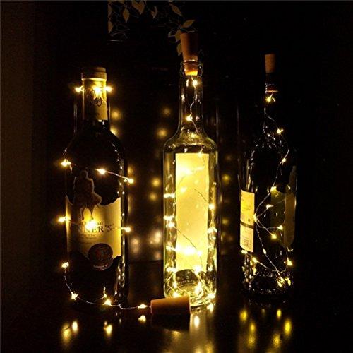 LEDMOMO Flaschen Lichter, Kork Lichterketten Wasserdicht für Weinflasche Lichterketten Kupferdraht LED Lichter für Dekor Party Hochzeit (Rosa Licht) -