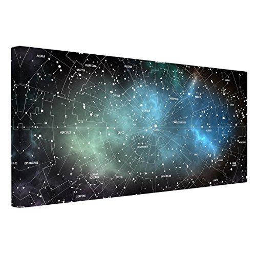 Leinwandbild - Sternbilder Karte Galaxienebel - Quer 1:2, 80cm x 160cm