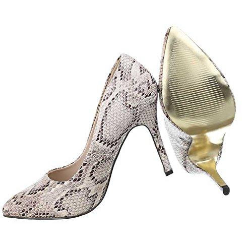 Damen Pumps Schuhe High Heels Stiletto Abendschuhe Club Party Schwarz Beige 35 36 37 38 39 40 Beige