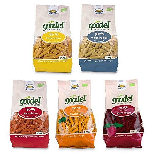 GOVINDA Goodel Penne Set 5 x 200g/250g Kichererbsen + Leinsamen, Rote Linse + Karotte, Quinoa, Buchweizen + Rote Beete, Rote Linse + Lupine (bio, roh, vegan) glutenfreie Nudeln