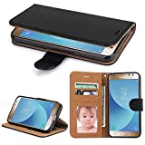 Galaxy J3 2017 Hülle, SOWOKO Leder Etui Flip Case Handyhülle für Samsung Galaxy J3 (2017) Brieftasche Tasche mit Integrierten Kartensteckplätzen und Ständer /Magnetverschluss, Schwarz