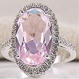 Gamloious Le Donne di Moda 925 del Taglio di Ovale di Colore Rosa Kunzite Formato dell'anello monili Wedding 6-10 (8)