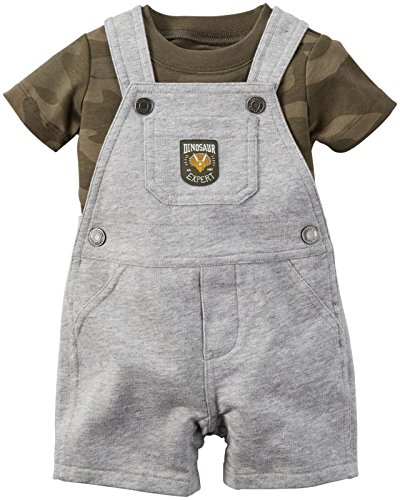 Carters's kurze Latzhose + T-Shirt Sommer Set Baby Junge Shorts camouflage Tarnfarbe grau Outfit boy (0-24 Monate) (56/62, grau)