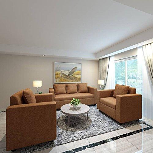 Bharat Lifestyle Lexus Fabric 3+1+1 Sofa Set Dark Brown