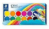 Staedtler Noris Club 888 NC12 Farbkasten, leicht mischbare Wasserfarben, hohe Farbbrillanz, hervorragende Deckkraft, Set aus 12 auswechselbaren Farbtöpfchen, 1 Tube Deckweiß und 1 Pinsel