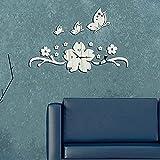 Hrph Neue Schmetterlings-Blumen-3D DIY Wanduhr Modernes Design Acryl Spiegel Wandtattoo -Kunst-Aufkleber für Home Office Dekoration