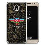 Hülle für Samsung Galaxy J3 (2017) - Aserbaidschan Azerbaycan Camouflage mit Schriftzug - Motiv Design Militär Military - transparente durchsichtige