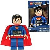 Despertador con luz infantil con figurita de Supermán de LEGO DC Comics Super Heroes; azul/rojo; plástico; 24 cm de altura; Pantalla LCD; chico chica; oficial