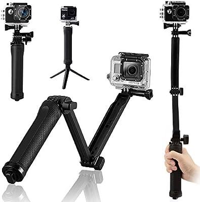 BoRui Trípode de montaje en bielas Selfie de 3 vías Self-Handy Brazo para Monopies multifuncional para GoPro Hero 5/4/3 + / 3/2/1 / Session / para cámaras compactas