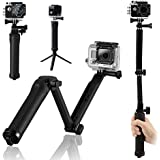 BoRui Palo Trípode de montaje en bielas 3 vías Selfie Stick Brazo para Monopies multifuncional para GoPro Hero 5/4/3 + / 3/2/1 / Session / para cámaras compactas