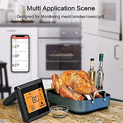 Kabelloses Fleischthermometer für Grill mit 4 Sonden, Aidmax Pro03, Bluetooth Digitales Kochküchen Thermometer, Solis Smart BBQ Thermometer für Räucherofen, Ofen und Küche