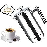 Homdox Kaffeebereiter Kaffeekanne French Press System aus Edelstahl, 1,0 L, Silber