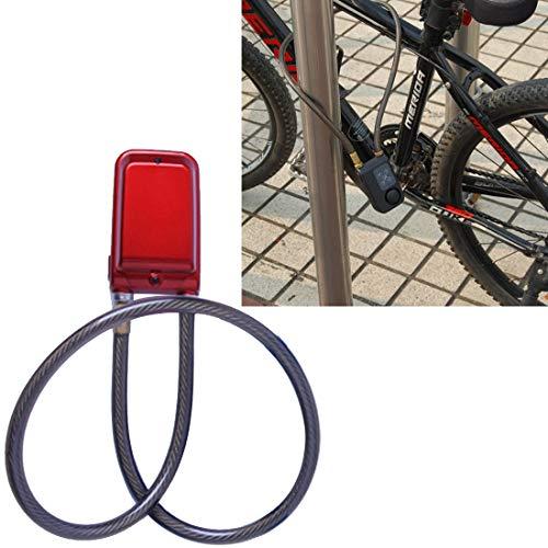 Xiaochou@sl Alarme IP44 de Vibration de cambrioleur imperméable d'alarme de Mot de Passe de Bicyclette, Taille: 80cm sécurité (Couleur : Rouge)