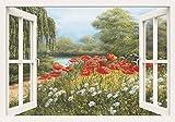 Artland Qualitätsbilder I Bild auf Leinwand Leinwandbilder Wandbilder 100 x 70 cm Botanik Blumen Malerei Grün C8ZQ Mohnwiese am See Fensterblick