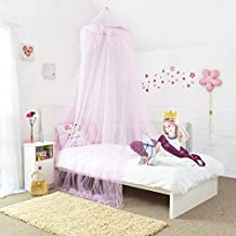 Baldaquín de princesa para cama - Hermoso baldaquín color rosa con lentejuelas plateadas - Accesorios de dormitorio de las niñas. Rápido y fácil de colgar