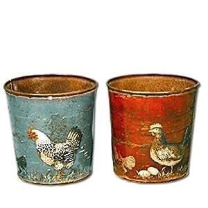 Belle Maison Lot de 2pots de fleurs traditionnel Motif poulet