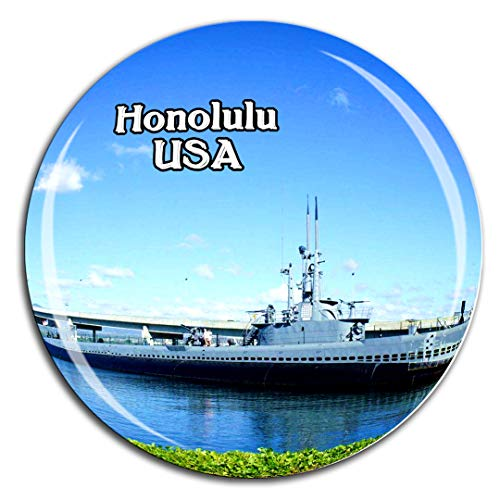 Pearl Harbor Nationales Denkmal Honolulu Oahu Hawaii Amerika USA Kühlschrankmagnet 3D Kristallglas Tourist City Travel Souvenir Collection Geschenk Stark Kühlschrank Aufkleber
