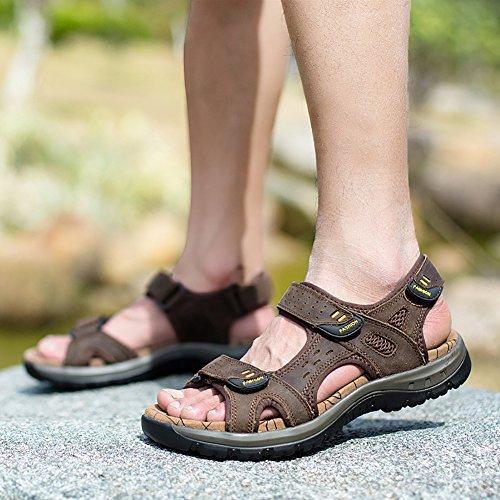SK Studio Homme Sandales en Cuir de Marche Ajustable Grand Tailles Sandales Respirant Bout Ouvert Chaussures Marron Foncé