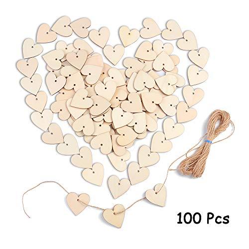Cuore di legno per decorazioni, 100 pcs fette di legno a forma abbellimenti 40 mm placche cuore di legno da appendere per matrimonio centrotavola natale fai da te arte craft card