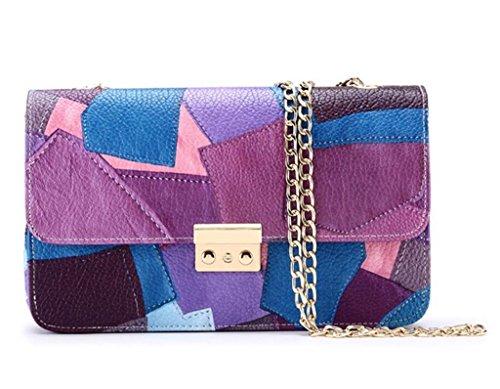 Great Strange Borse da donna Borse in Tote Borsa in pelle PU in pelle trasversale Borsa Shopping Chain , blue purple