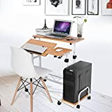 GOTOTOP Computertisch Laptoptisch Arbeitstisch Schreibtisch Bürotisch mit Rollen