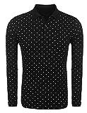 Herren Poloshirt Baumwolle Slim Fit Langarmshirt Polka Dots Polo Shirt Kleidung Casual Punkt Polohemd Pullover Sweatshirt Mit Knopfleiste Schwarz Weiss Grau (Color : Schwarz, Size : XL)