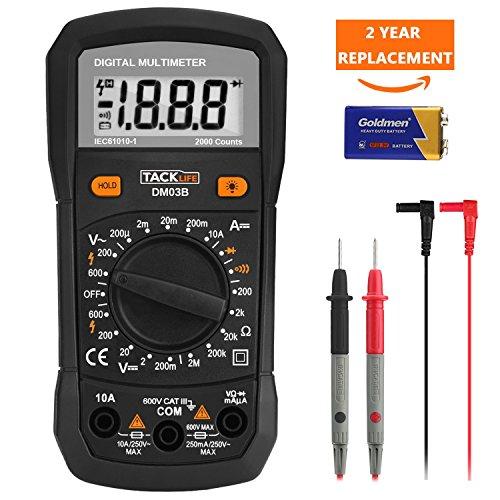 Tacklife DM03B Klassisches Digital Multimeter(Spannungsmesser, Stromprüfer, Widerstand, Durchgangprüfung)Multitester mit Hintergrundbeleuchtung