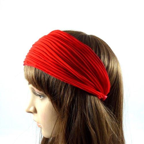 rougecaramel - Serre tête/headband/ large plissé façon bandeau - rouge