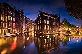 Voss Fine Art Photography Ciudad Antigua de Amsterdam en Noche luz, Fotografía en Ultra HD, 105 x 70 cm
